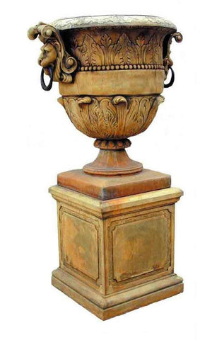 Large Lion Urn and Base, Rust Finish