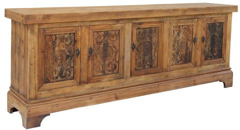 Long Sideboard with Carved Doors