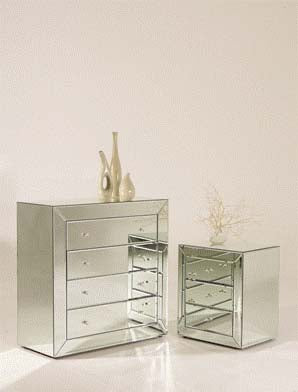 Mirrored Bedside Table 3 Drawer