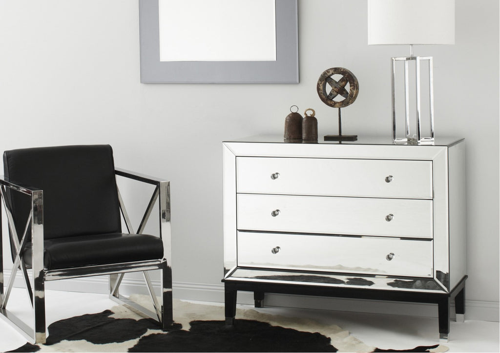 Mirrored Chest of Drawers with Feet