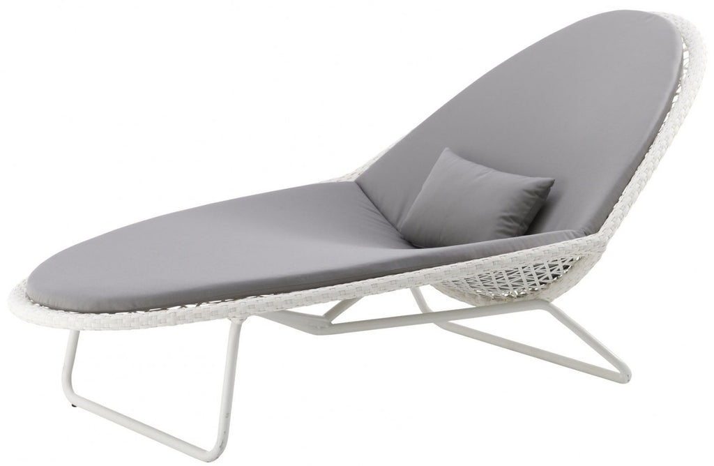 Safari Sunlounger with Cushion White