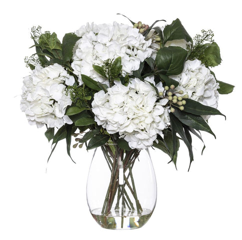 Hydrangea Eucy Mix in Claire Vase White 58cmH