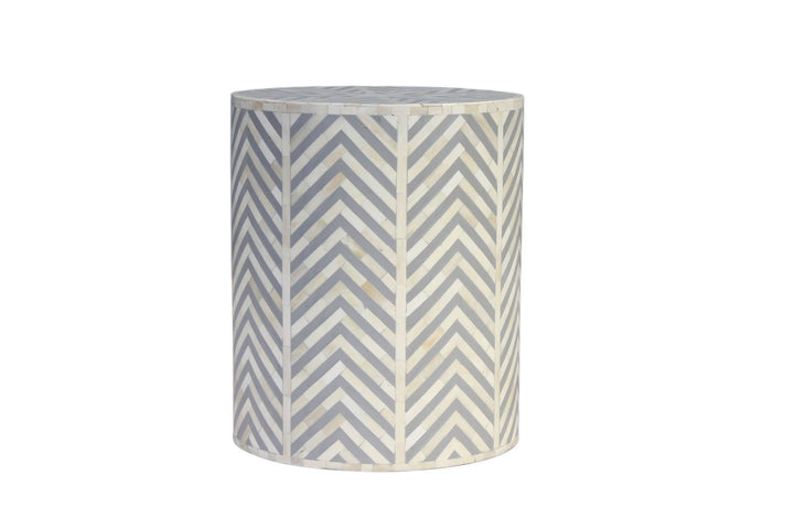 Khatri Bone Inlay Stool/Side Table Grey