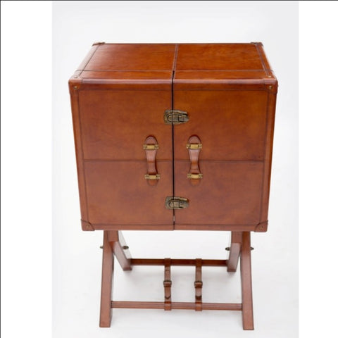 Mason Leather Bar Cabinet on Stand