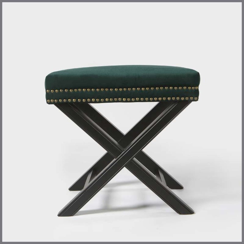 Studded Ottoman with X Legs Emerald Green Velvet