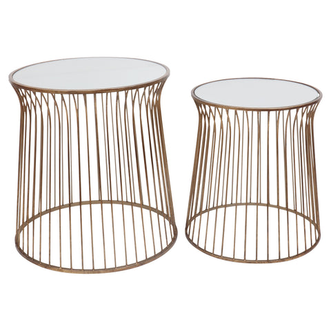 Nina Mirrored Side Tables Antique Gold Set/2