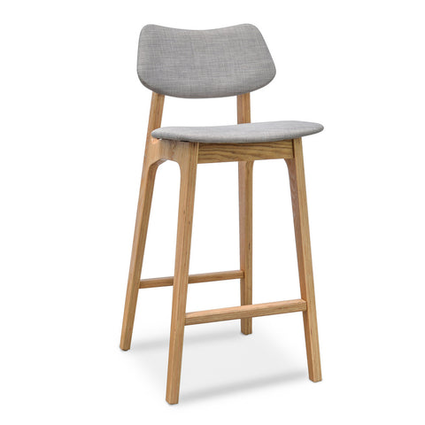 Todd High Back Stool Grey/Natural