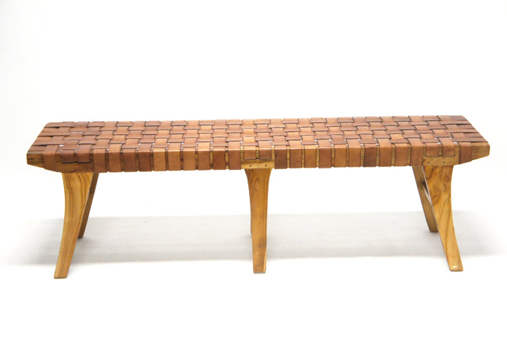 Naraha Woven Leather Bench