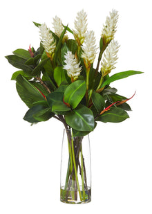 Ginger Spray Mix In Strata Vase White