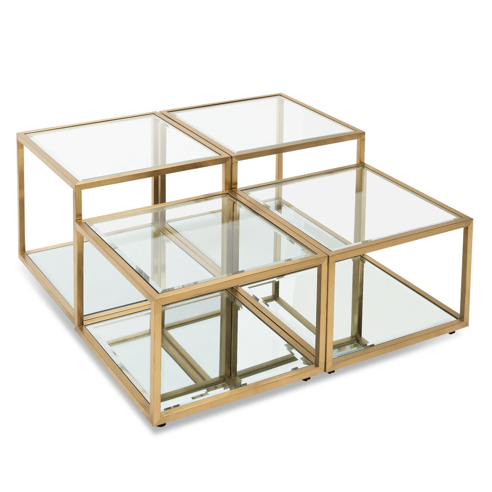 Evans Glass Coffee Table Set/4 Brushed Gold