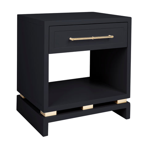 Capize Bedside Table Small Black with Gold Handles