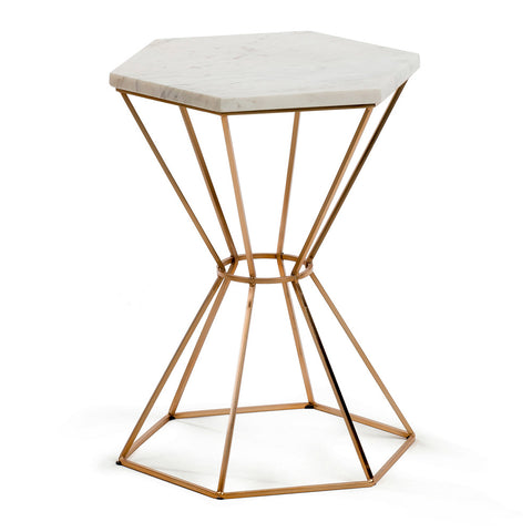 Ditto Copper Side Table with Marble Top