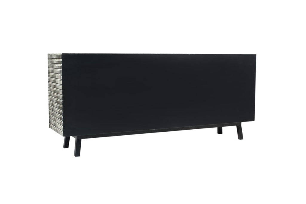 Black and White Bone Inlay Linear Sideboard