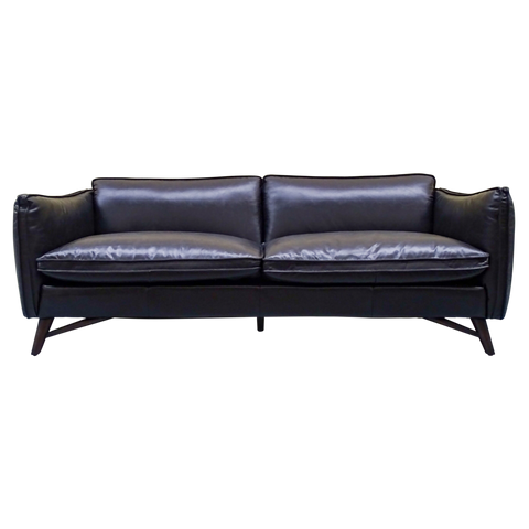 Theadore 3 Seat Leather Sofa Black