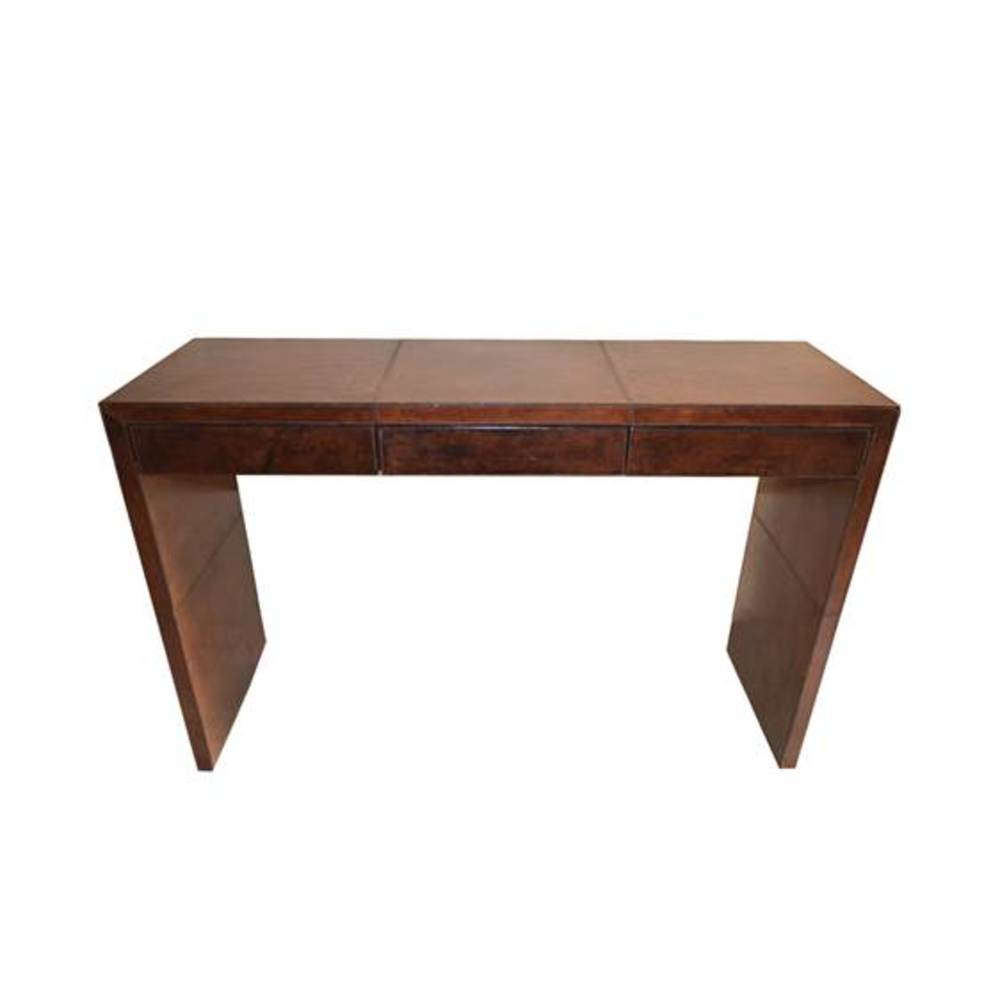 Cartier Leather Console Table Dark