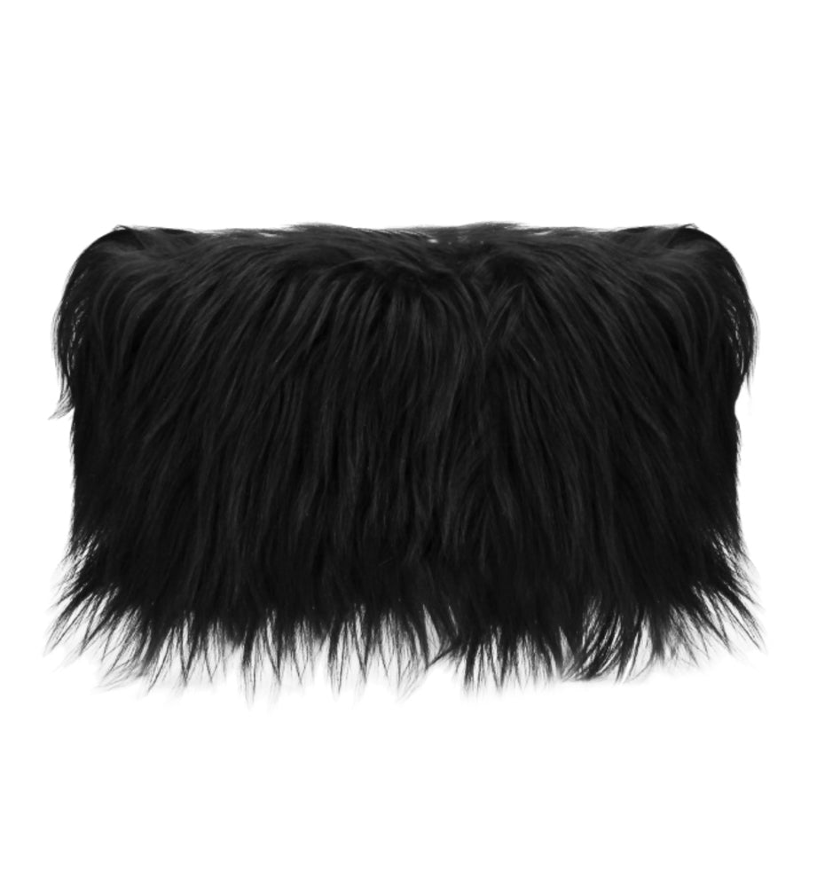 Luxury Goat Fur Cushion Black