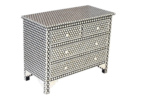 Bone Inlay 9 Drawer Chest Honeycomb Black