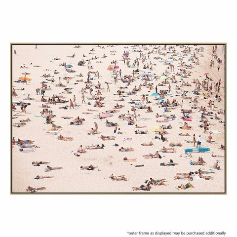 Crowded Beach Canvas Print with Floating Frame