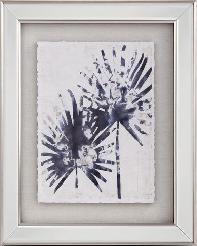 Blue Fan Palm Print With Mirrored Frame