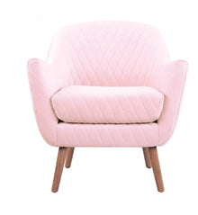Club Chair Baby Pink with Oak Legs