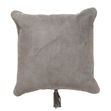 Textured Leather Cushion Dark Grey