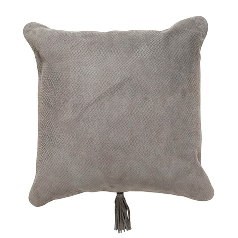 Textured Leather Cushion Beige