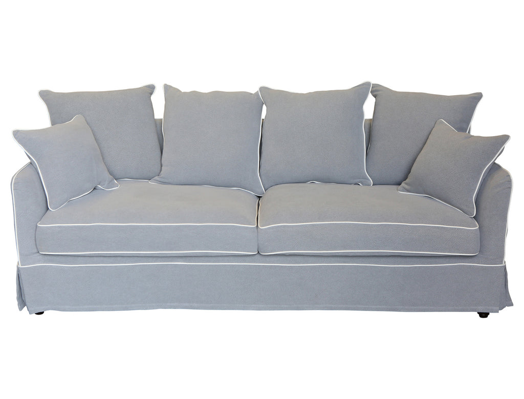 Terrific Grey 3 Seat Sofa With White Piping Gmtry Best Dining Table And Chair Ideas Images Gmtryco