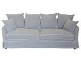 Grey 3 Seat Sofa with White Piping