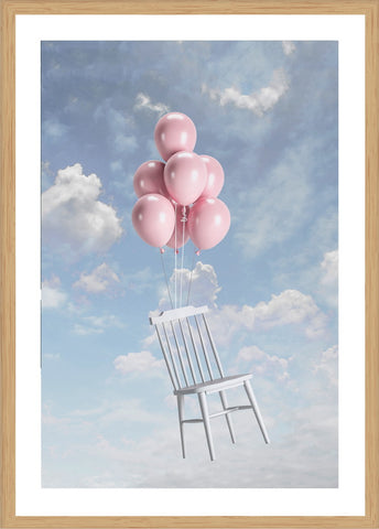 Floating Chair Isolated Print with Frame