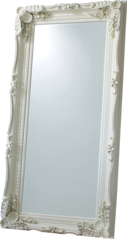 Carved French Leaner Mirror Antique Silver