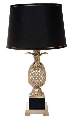Two Tone Nickel and Black Lamp with Shade Pair