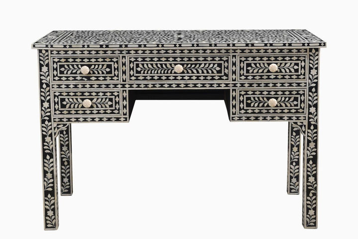 Isha Florentine Bone Inlay Desk Black