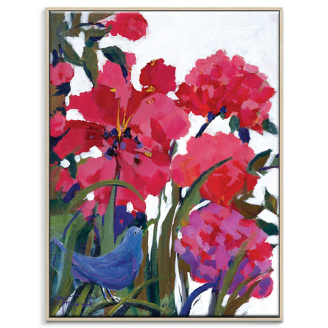 Garden Visitor Framed Canvas Print