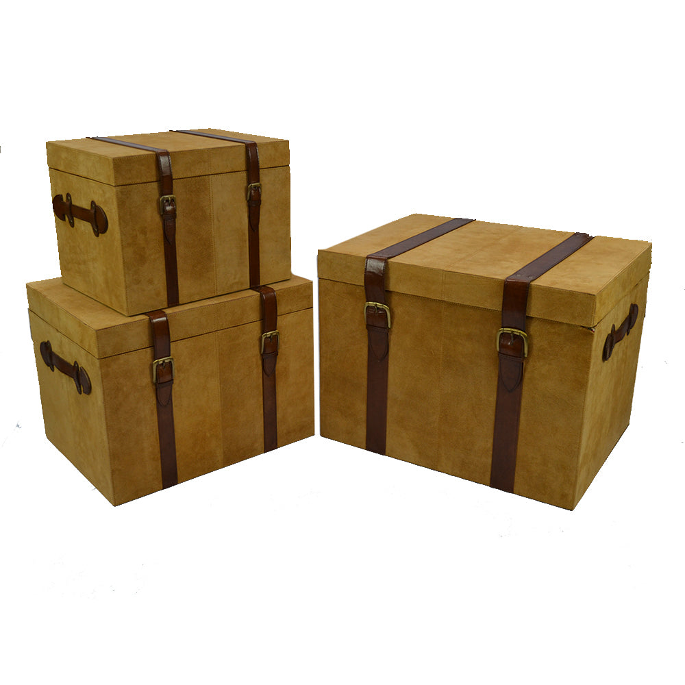 Hutchinson Set/3 Trunks Tan Suede