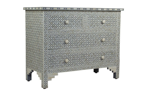 Shalimar Mother of Pearl Inlay 3 Drawer Chest Floral Grey