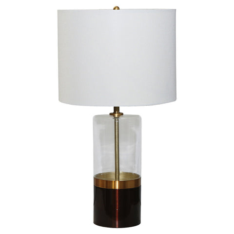 Round Brass Glass Lamp with Shade