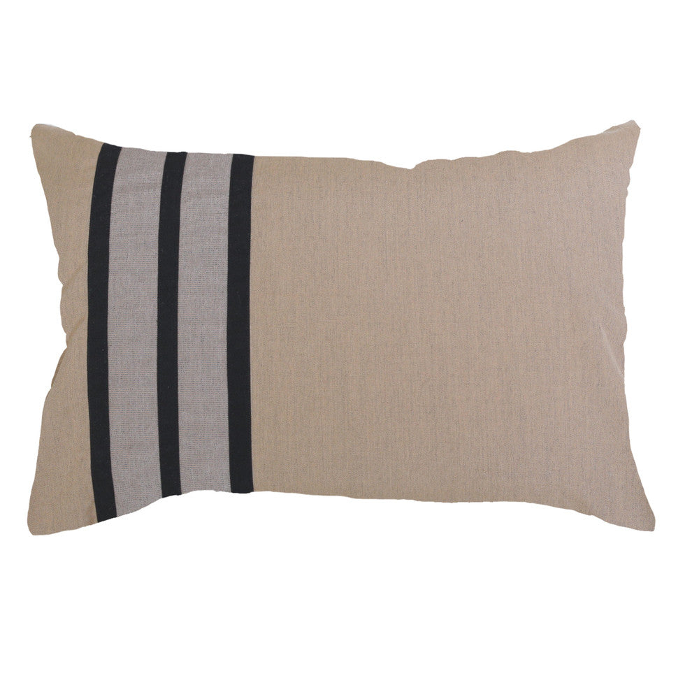 Outdoor Stripe Lumber Cushion Black