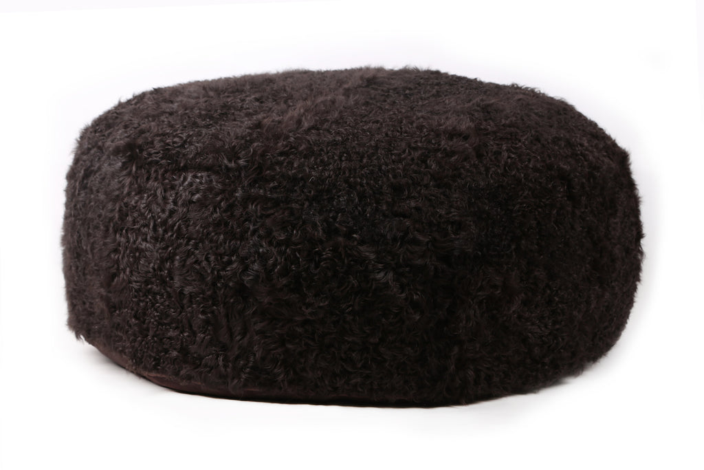 Curly Sheep Fur Ottoman Dark Brown