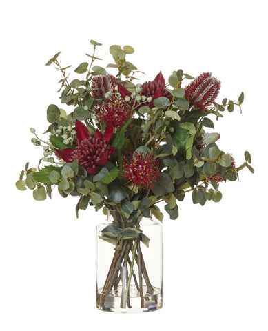 Native Waratah Mix in Pail Vase Red