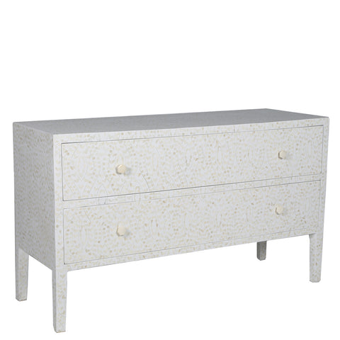 Henrietta Bone Inlay Long 2 Drawer Chest Classic Vine White