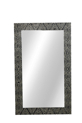 Perla Bone Inlay Mirror Classic Vine Black & White