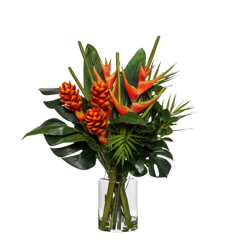 Tropical Heliconia Mix in Pail Vase Orange