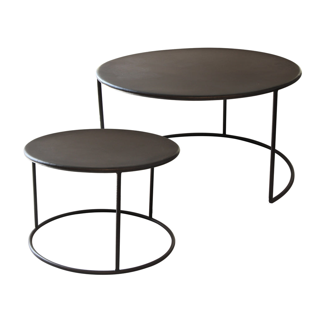 Marble Ayva Nesting Coffee Tables Set Of 2: Phillip Iron Nesting Coffee Tables Set/2