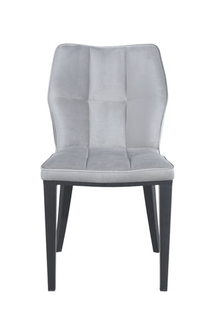 Pair of Geneve Dining Chairs Black with Grey Velvet