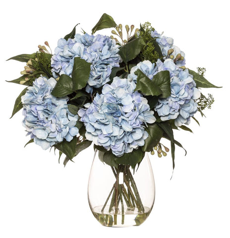 Hydrangea Eucy Mix in Claire Vase Blue 58cmH