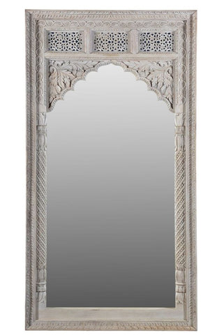 Marwah Carved Leaner Mirror White Wash