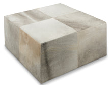 Square Block Cow Hide Ottoman/Coffee Table Grey