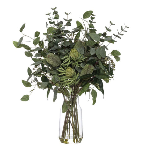 Banksia Eucy Mix in Audrey Vase Green