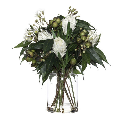 Protea Eucy Mix in Pail Vase White 61cmH