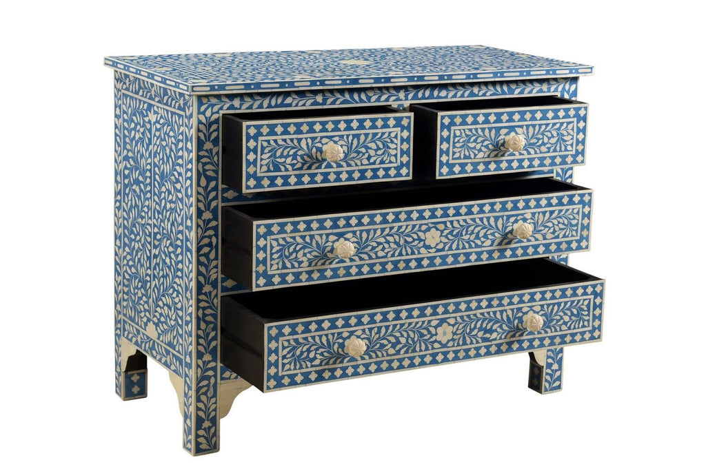 Farisha Bone Inlay 4 Drawer Chest Azure